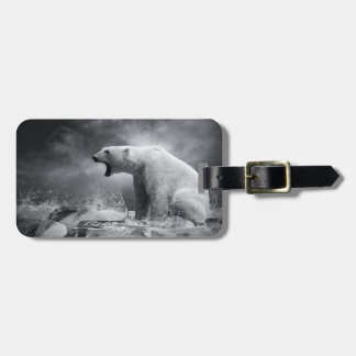 White Polar Bear Hunter on the Ice in water Luggage Tag