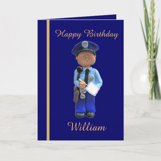 White Police Officer Birthday Card
