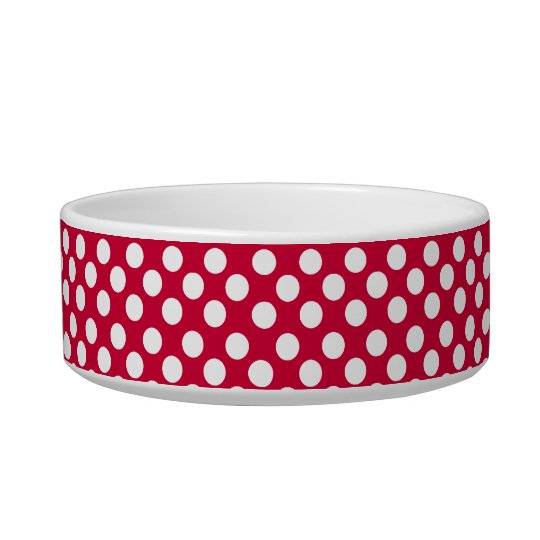 White Polka Dot Pattern on Red Dog or Cat Pet Bowl