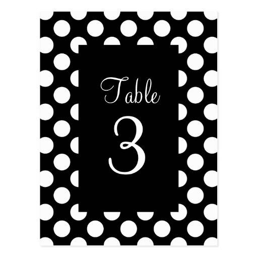 White Polka Dot Table Number Post Cards