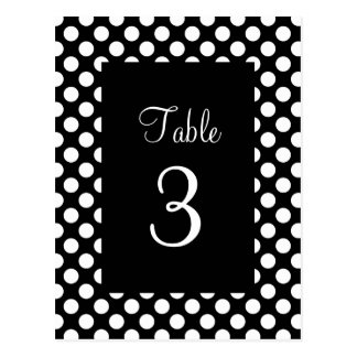 White Polka Dot Table Number Postcard