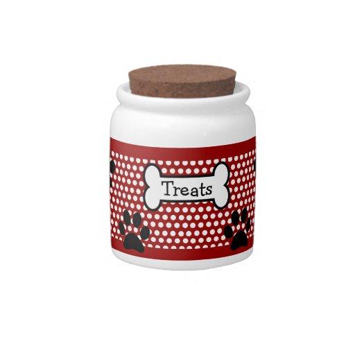 White Polka Dots and Red Pet Treats Jar Candy Dish