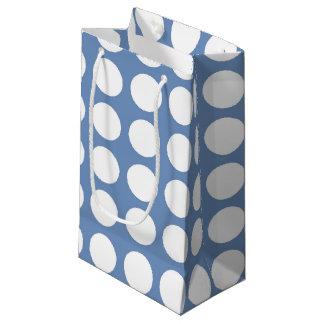 White Polka Dots Blue/Grey Small Gift Bag