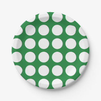White Polka Dots Green Paper Plate