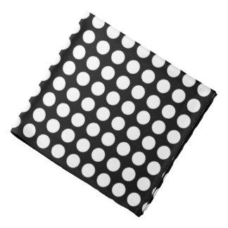 White polka dots on a black background do-rag