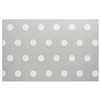 White Polka Dots on Ash Grey Fabric