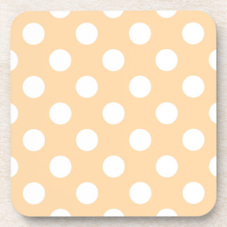 White polka dots on beige coaster