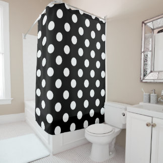 White Polka Dots on Black Background Shower Curtain