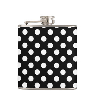 White polka dots on black hip flask