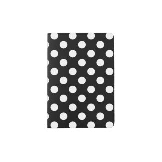 White polka dots on black passport holder