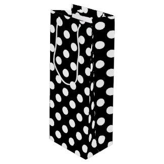White polka dots on black wine gift bag