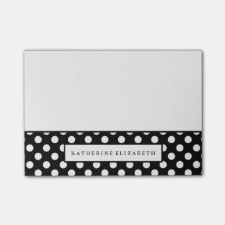 White Polka Dots on Black with Name Post-it Notes