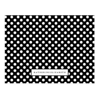 White Polka Dots on Black with Name Postcard
