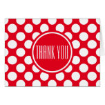 White polka dots on Christmas red thank you Note Card