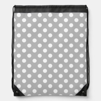 White Polka Dots on Chrome Grey Background Drawstring Backpacks