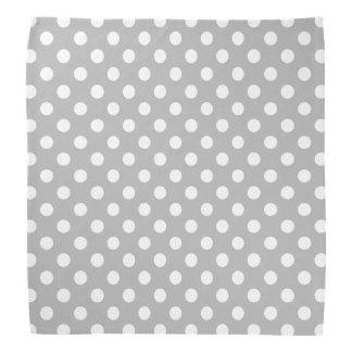 White Polka Dots on Chrome Grey Background Head Kerchief