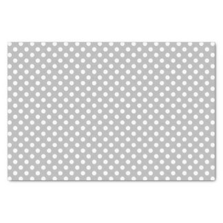 White Polka Dots on Chrome Grey Background Tissue Paper