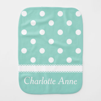 White Polka Dots on Cool Aqua Personalized Baby Burp Cloth