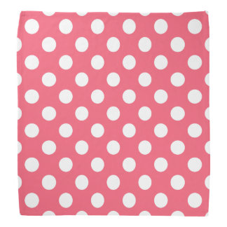 White polka dots on coral bandana