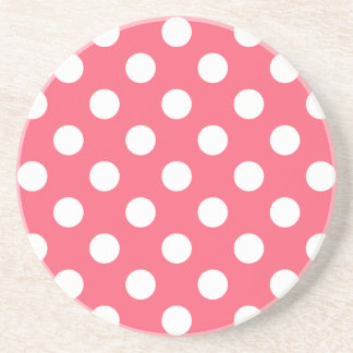 White polka dots on coral coaster