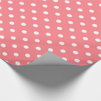 White Polka Dots on Coral Pink Wrapping Paper