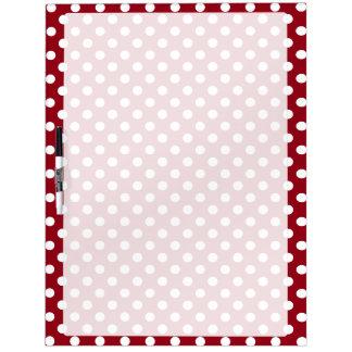 White Polka Dots on Crimson Red Dry Erase Whiteboards
