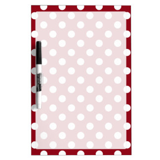 White Polka Dots on Crimson Red Dry-Erase Board