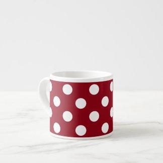 White Polka Dots on Crimson Red Espresso Mug