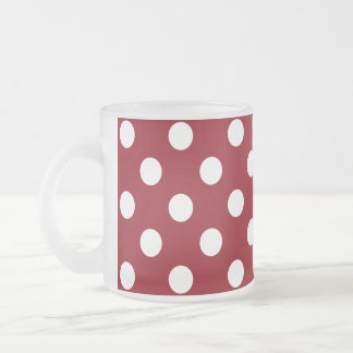 White Polka Dots on Crimson Red Frosted Glass Mug