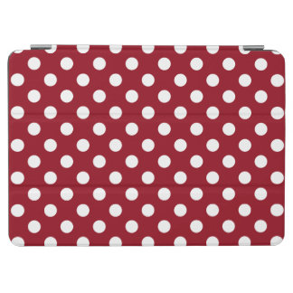 White Polka Dots on Crimson Red iPad Air Cover
