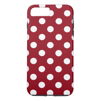 White Polka Dots on Crimson Red iPhone 7 Plus Case