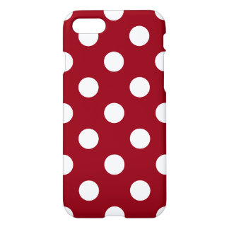 White Polka Dots on Crimson Red iPhone 8/7 Case