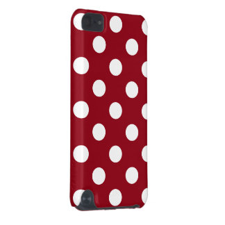 White Polka Dots on Crimson Red iPod Touch 5G Cover