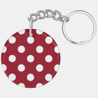 White Polka Dots on Crimson Red Key Ring