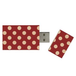 White Polka Dots on Crimson Red Wood USB 3.0 Flash Drive