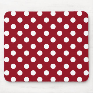 White Polka Dots on Crimson Red Mouse Pad