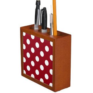 White Polka Dots on Crimson Red Pencil/Pen Holder