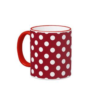 White Polka Dots on Crimson Red Ringer Mug