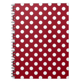 White Polka Dots on Crimson Red Spiral Note Book