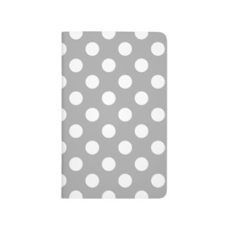 White polka dots on grey journals