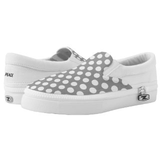 White Polka Dots on Grey Slip On Canvas Shoes