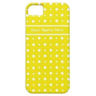 White Polka Dots on Lemon Yellow iPhone 5 Cases