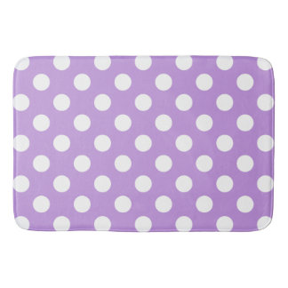 White polka dots on lilac bath mat