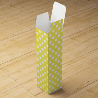 White Polka Dots on Maize Yellow Background Wine Box