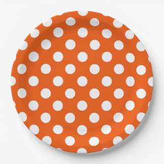 White polka dots on orange paper plate