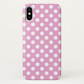White polka dots on pale pink iPhone x case