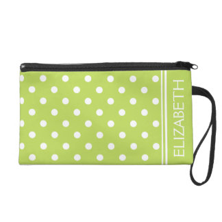 White Polka Dots on Palm Leaf Green Personalized Wristlet
