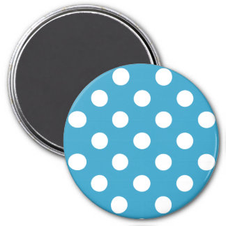 White Polka Dots on Peacock Blue Background 7.5 Cm Round Magnet