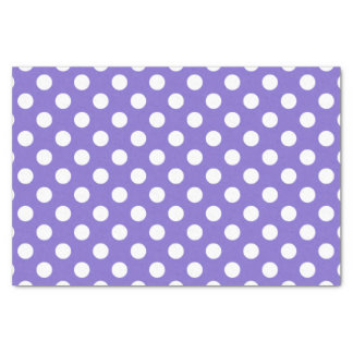 White polka dots on periwinkle tissue paper
