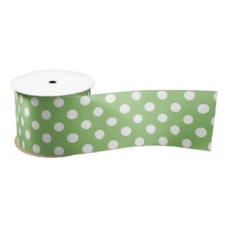 White Polka Dots on Pistachio Green Satin Ribbon